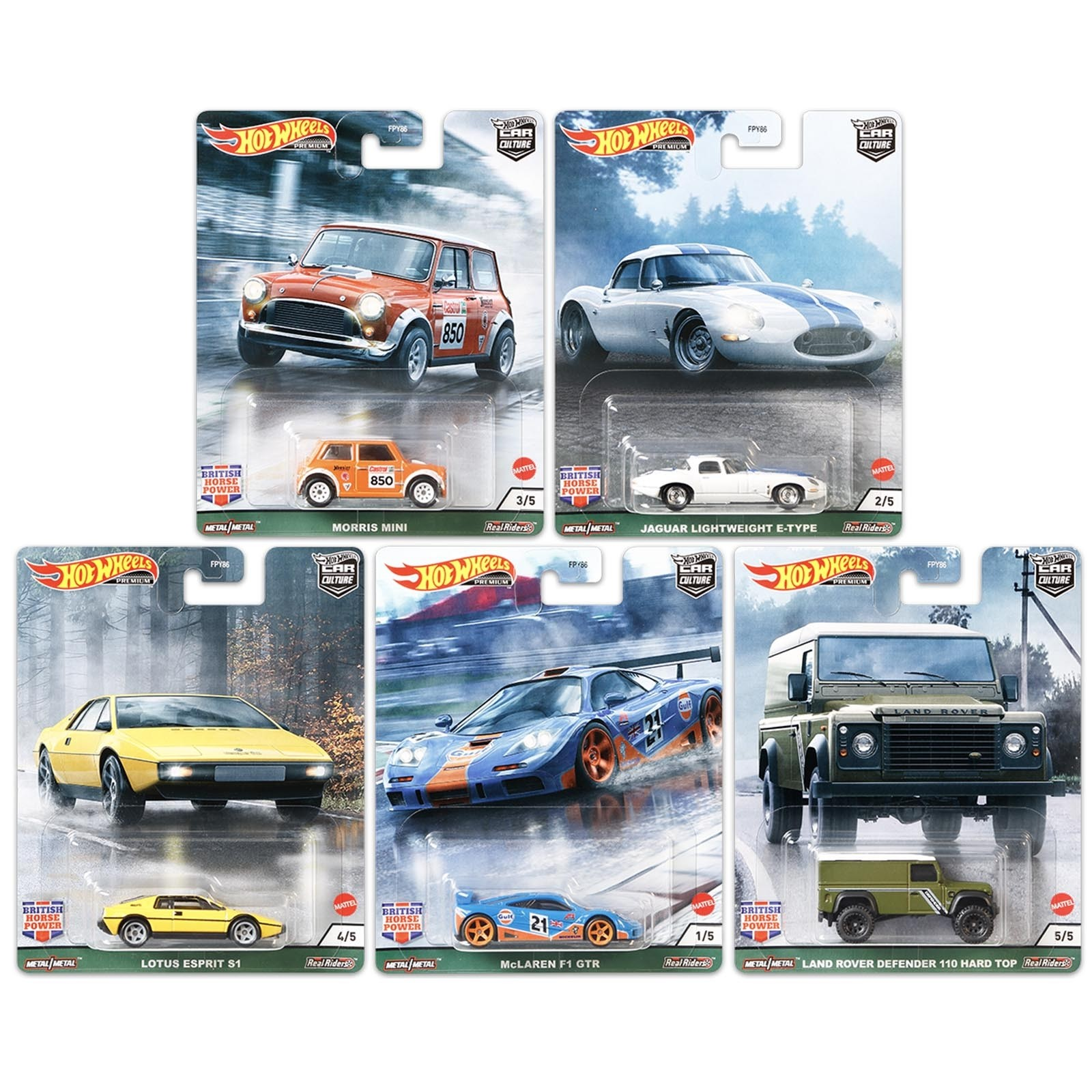 Hot Wheels Set Completo 5 Miniaturas British Horse Power Car Culture Fpy86 Escala Miniaturas By Mao Na Roda 4x4